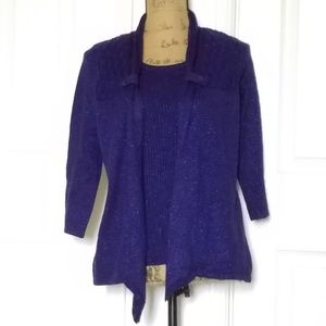 Deep blue sweater set, tie front, shimmer